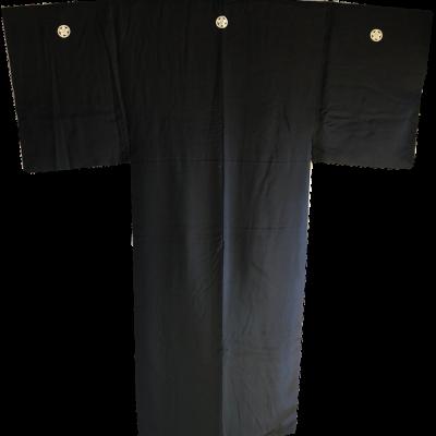 Ancien kimono samourai Maru Ni Umebachi Montsuki soie noire homme