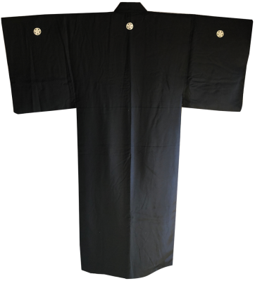 Men's traditional japanese Samurai Kimono Maru Ni Umebachi Montsuki Black silk