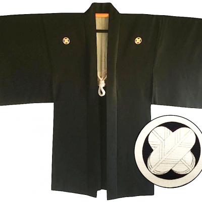 Antique haori japonais soie noire maruni takanohane montsuki homme made in japan