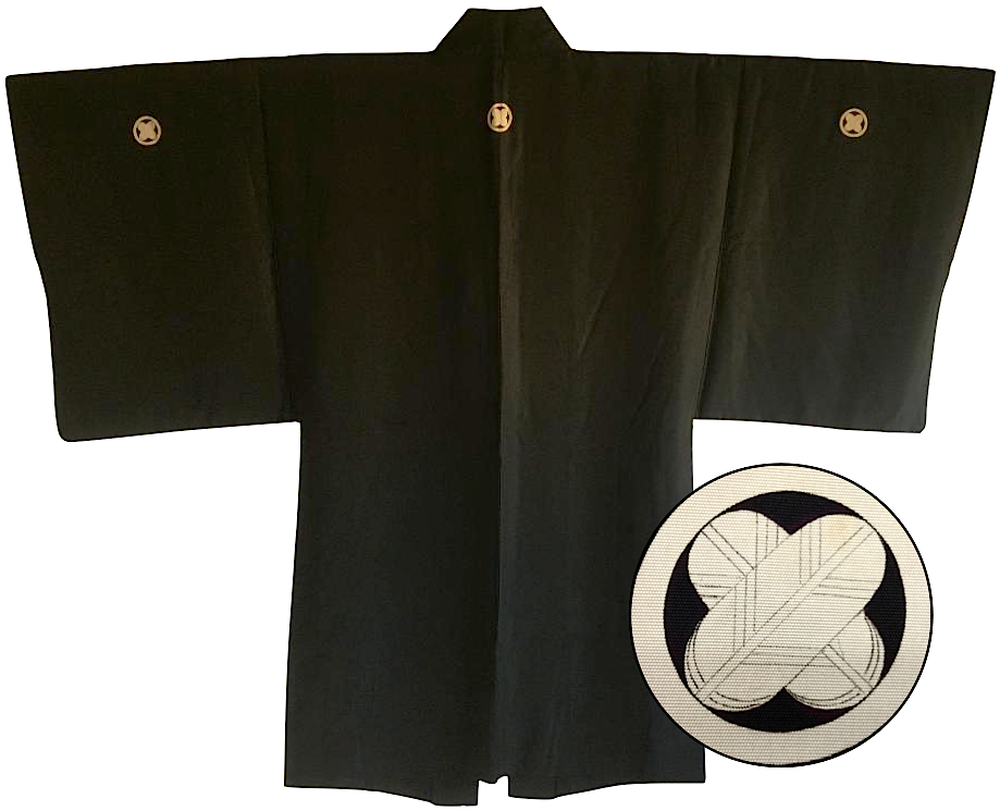 Antique haori japonais soie noire maruni takanohane montsuki homme made in japan2