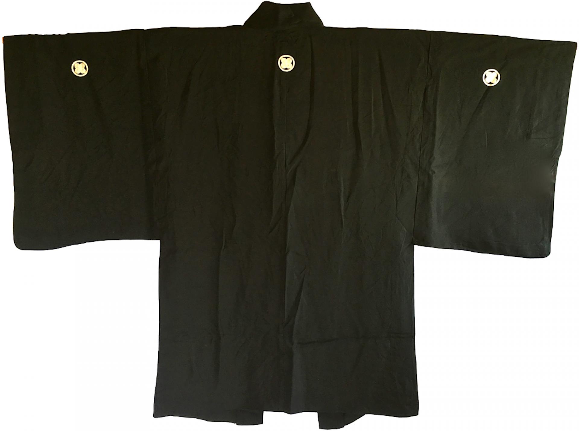 Antique haori samourai soie noire takano hane montsuki d e te homme 1