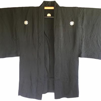 Antique haori samourai soie noire takano hane montsuki d e te homme