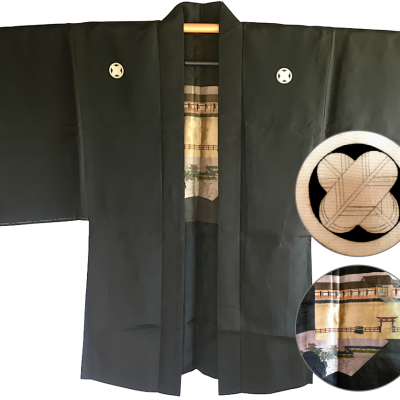 Antique haori samourai soie noire yama no jinja takano hane montsuki homme made in japan