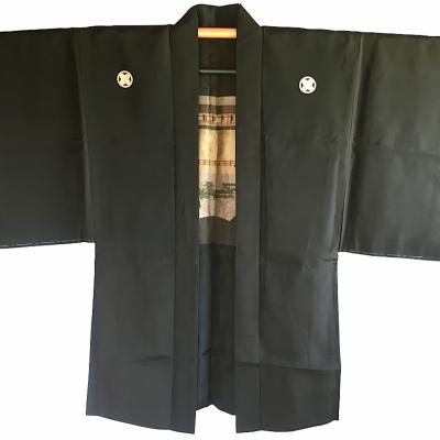 Antique haori samourai soie noire yama no jinja takano hane montsuki homme