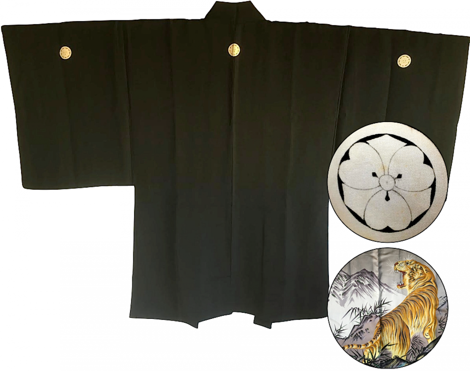 Antique kimono haori japonais samourai soie noire kenkatabami montsuki tora le tigre 1