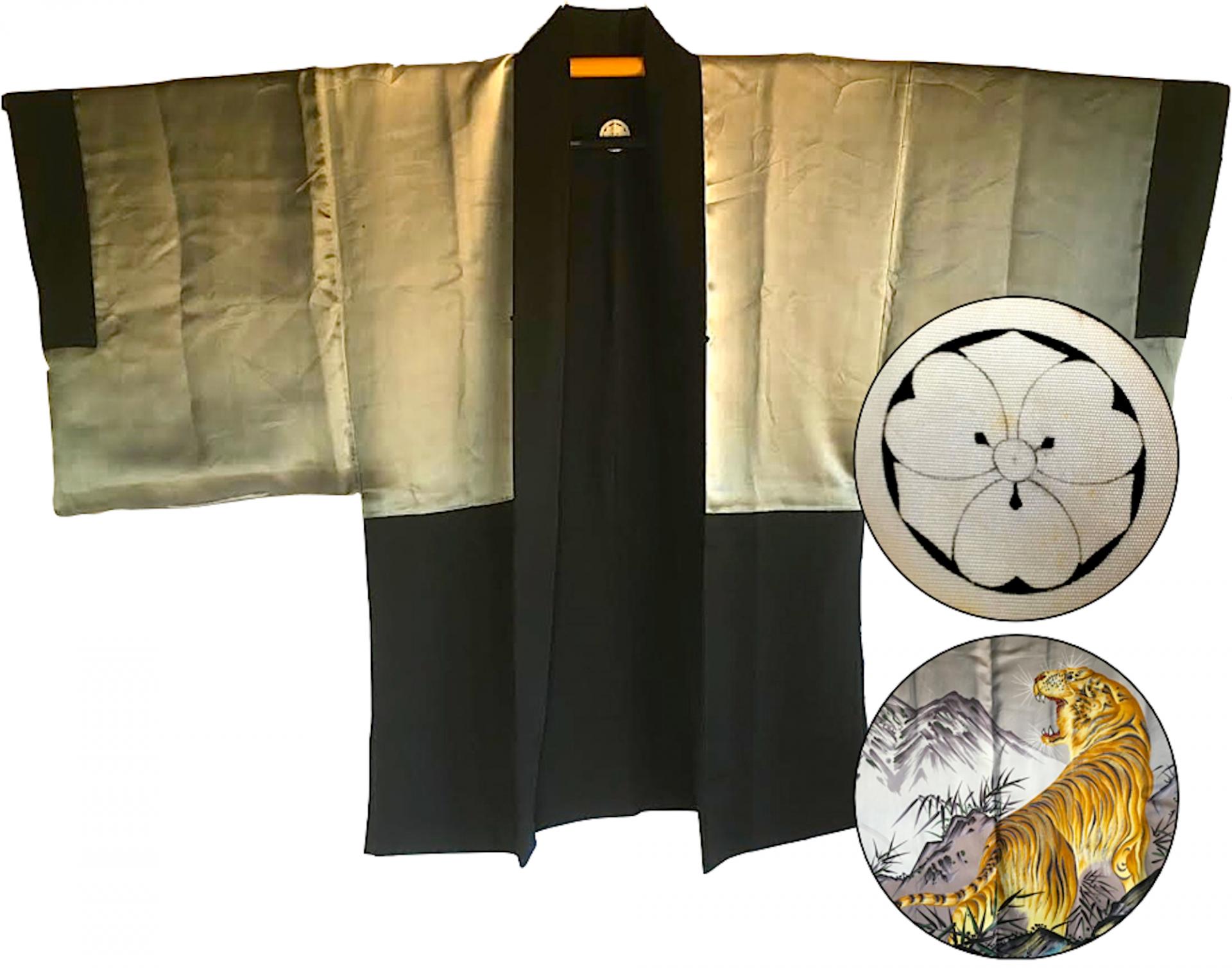 Antique kimono haori japonais samourai soie noire kenkatabami montsuki tora le tigre 2