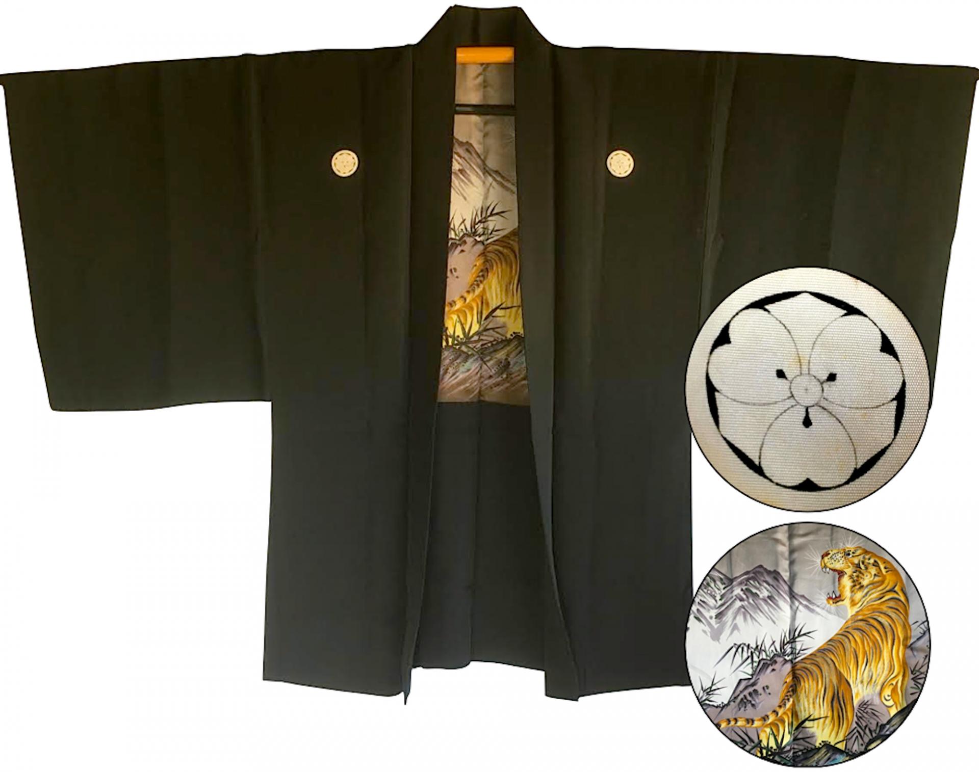 Antique kimono haori japonais samourai soie noire kenkatabami montsuki tora le tigre