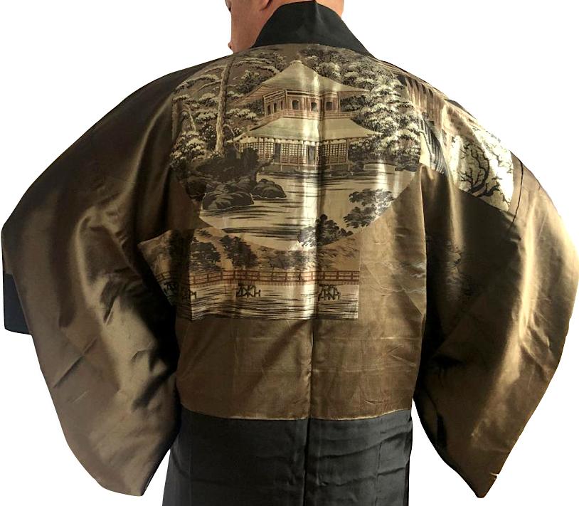 Antique kimono haori soie noire montsuki ginkakuji temple d argent kyoto