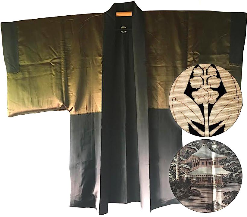 Antique kimono haori soie noire montsuki ginkakuji temple d argent kyoto3