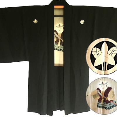 Antique veste kimono haori no no mai kodomo samourai montsuki soie noire homme made in japan