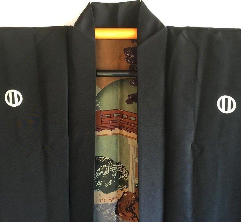 Antique veste kimono haori samourai soie noire montsuki jinja no o bashi homme detail 4
