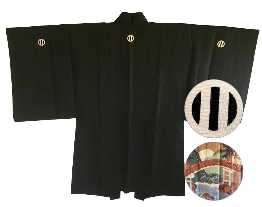 Antique veste kimono haori samourai soie noire montsuki jinja no o bashi homme2