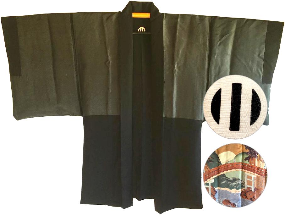 Antique veste kimono haori samourai soie noire montsuki jinja no o bashi homme3