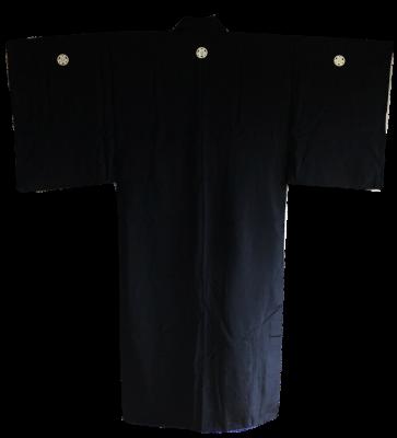 Men's Antique traditional japanese Samurai Kimono Maru Ni Katabami Montsuki Black silk