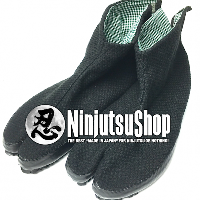 Black cotton Sashiko Ninja Jikatabi Shoe 3 Kohaze Wamon
