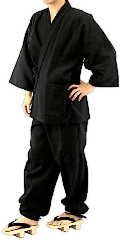 Luxe samue japonais sashiko noir coton 2 zoom