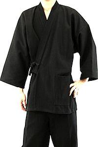 Luxe samue japonais sashiko noir coton vignette small