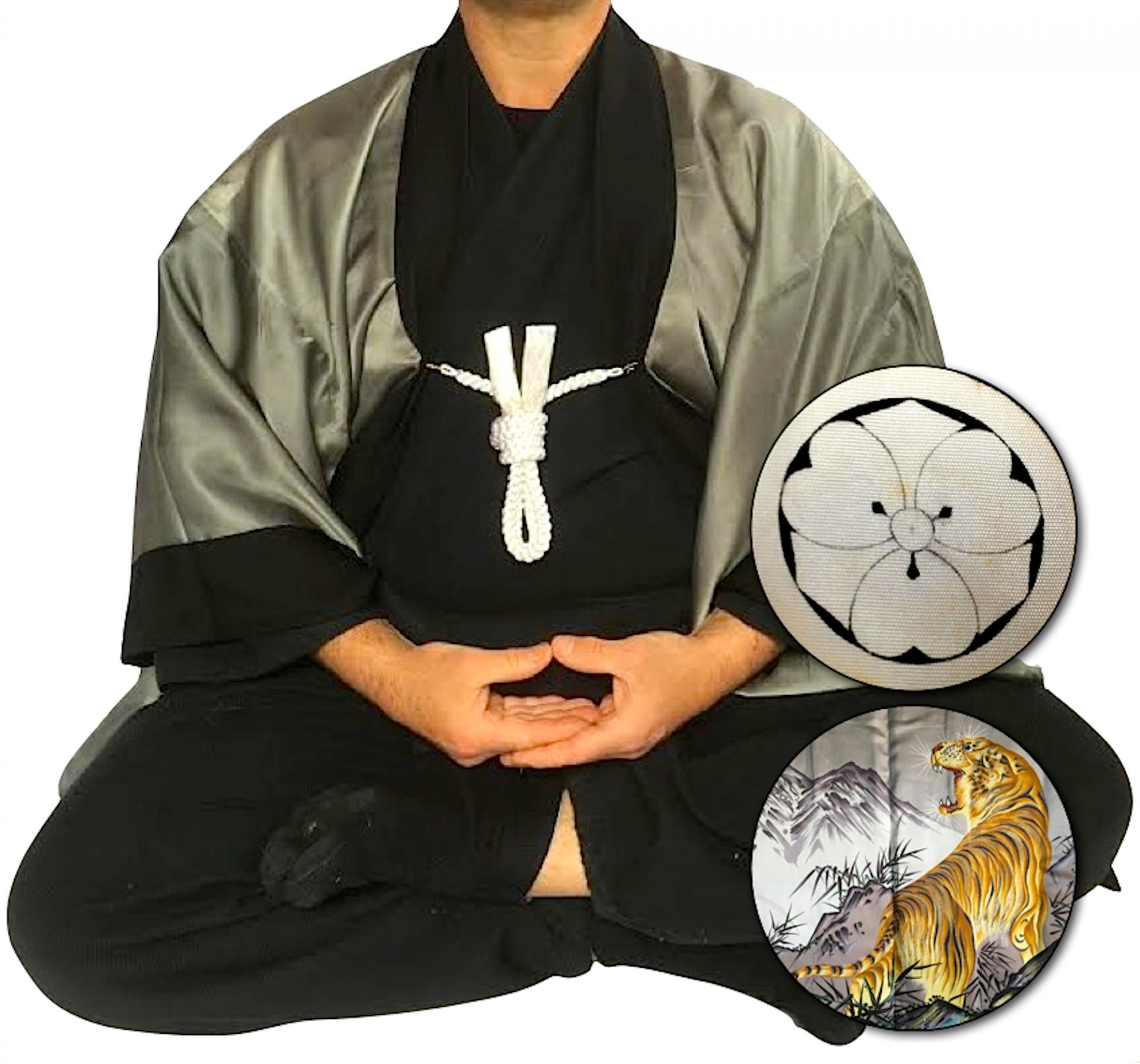 Rare antique kimono haori samourai soie noire maruni kenkatabami montsuki tora le tigre1