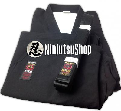 """Set Kimono Ninjutsu Tokaido Sab Kongo noir coton """"Made in Japan"""""""