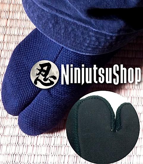 Tabi ninjutsu sashiko noir coton made in japan ninjutsushop